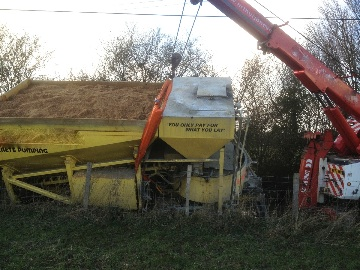 mixer lorry recovering deep ditch