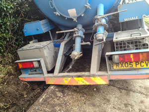 Tanker lorry recovery from roadside ditch