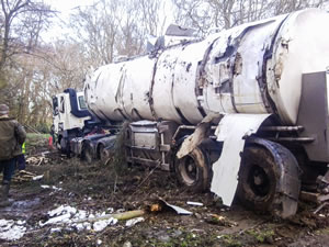 Damaged sustained from overturning milk tanker
